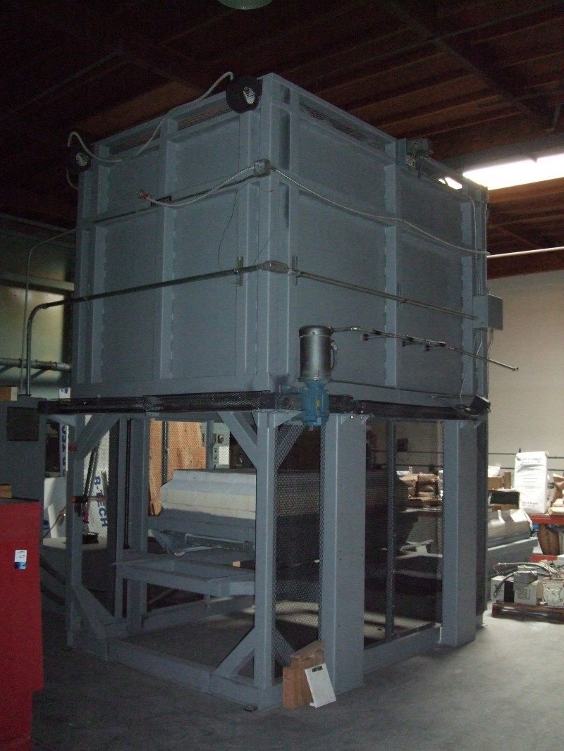 HED ELK-54 1750C Elevator kiln refurbished & painted. This is not the kiln for sale. It is an identical unit we refurbished