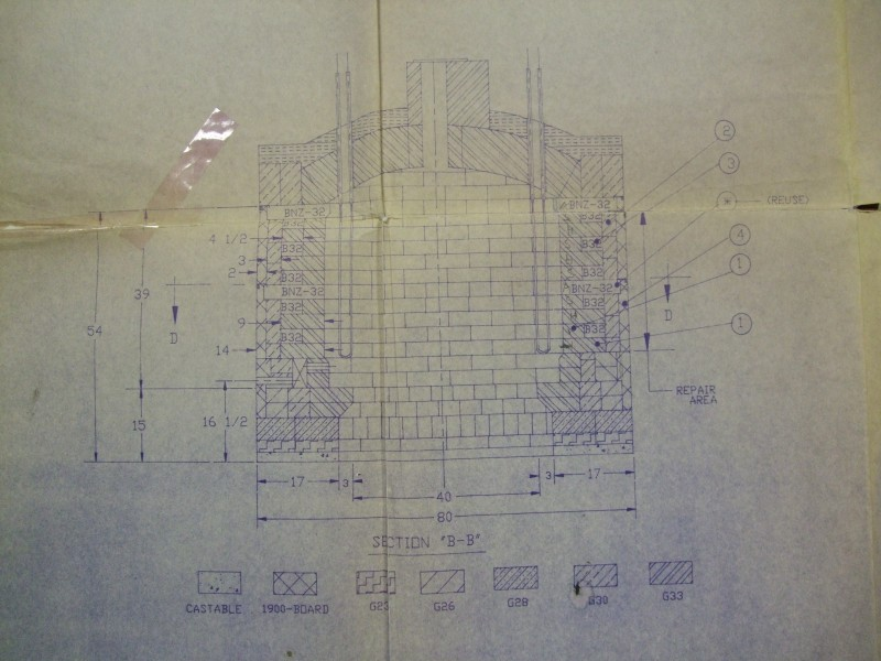 HED ELK-54 1750C Elevator kiln lining drawing 1