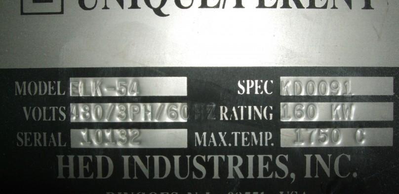 HED ELK-54 1750C Elevator kiln tag