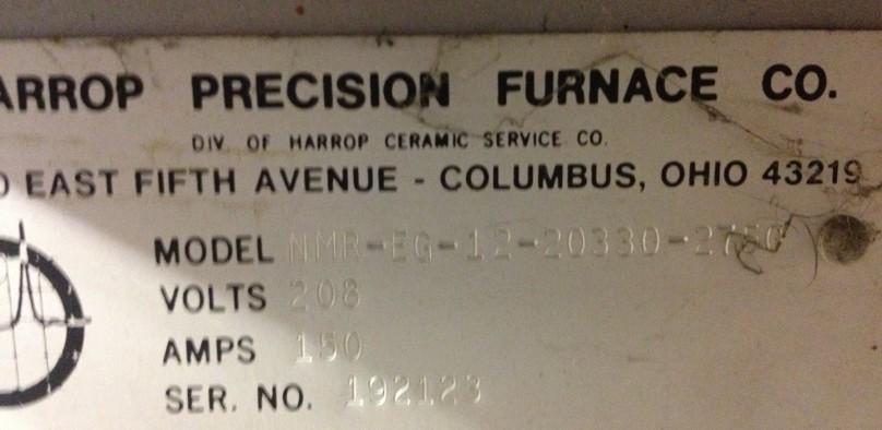 Harrop Elevator 1500C nameplate